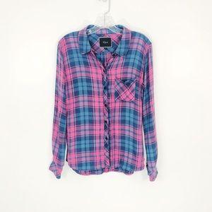 RAILS Blue and Pink Plaid Button Down Shirt S